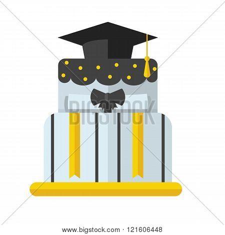 Graduation Cake Flat Vector Icon