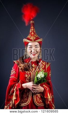 Kazakh Women With Flowers