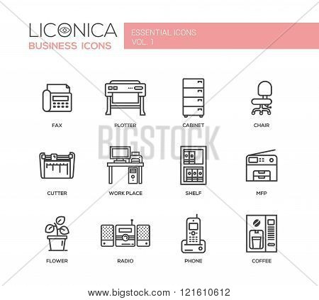Set of modern vector office simple line design icons and pictograms. Collection of business infographics objects and web elements. Fax, plotter, chair, cabinet, cutter, work place, mfp, shelf, flower, radio, phone, coffee