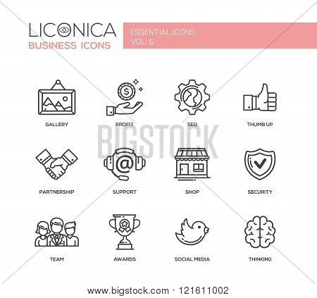Set of modern vector office plain simple thin line flat design icons and pictograms. Collection of business infographics objects, web elements. Gallery, profit, seo, thumb up, partnership, support, shop, security, team, awards, social media, thinking