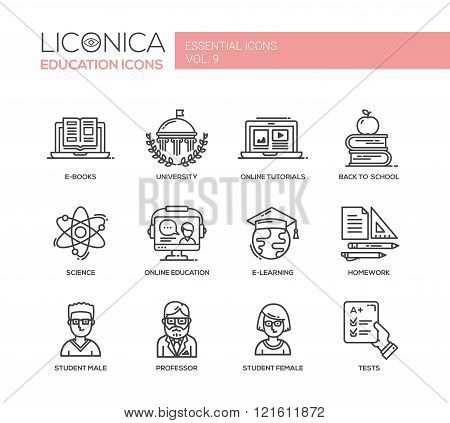Set of modern vector education thin line flat design icons and pictograms. E-books, university, online tutorials, science, online education, e-learning, student male, professor, student female, back to school, homework, tests