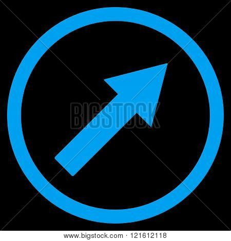 Up-Right Rounded Arrow Flat Vector Symbol