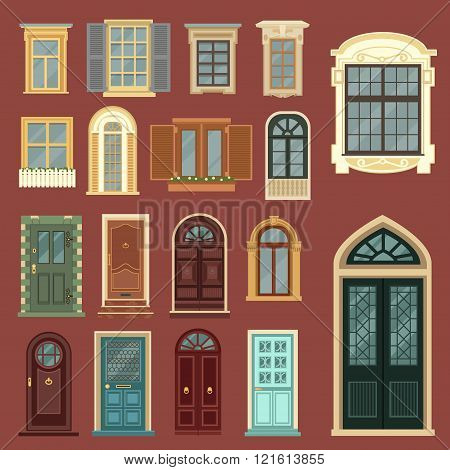Architectural Set Of European Vintage Doors And Windows