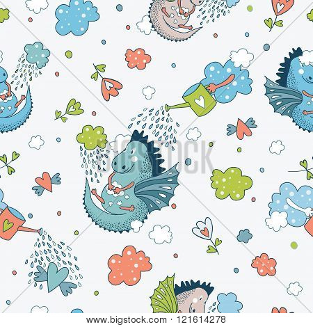 Cute  Funny Vector  Seamless Pattern. Hand Drawn Doodle Des
