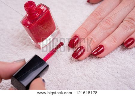 Manicured Nails With Red Nail Polish