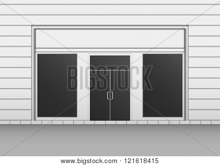 Shopfront with Black Windows. Light Store Facade
