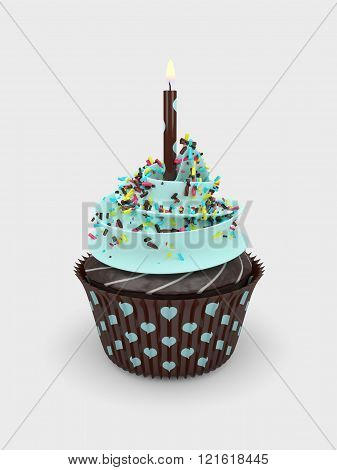3D Sweet Cupcake With Candle Over Light Grey Background