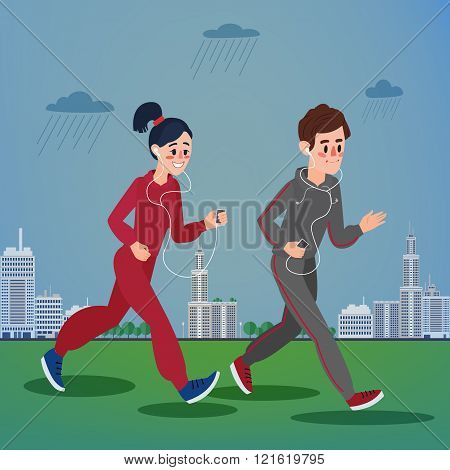 Man And Woman With Headphones Running In The Megapolis Under Rain