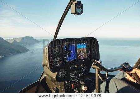 Helicopter Cockpit With Instruments Panel