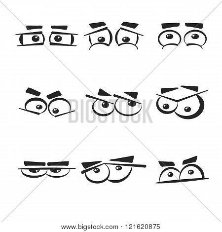 Set of eye emotions, isolated on the white background.