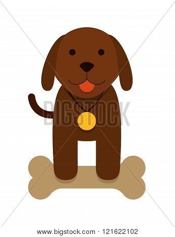 brown puppy dog with bone - flat cartoon