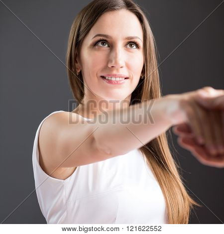 Happy Business Woman Give Hand To Her Partner