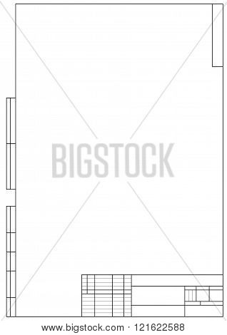 Frame For Technical Drawing On The White Background. Vertical Frame And Drawing Paper Original Size