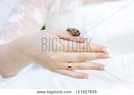 The Frog Sits On A Hand Of The Bride.