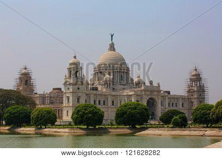 Landmark Building Victoria Memorial In Kolkata Or Calcutta, India