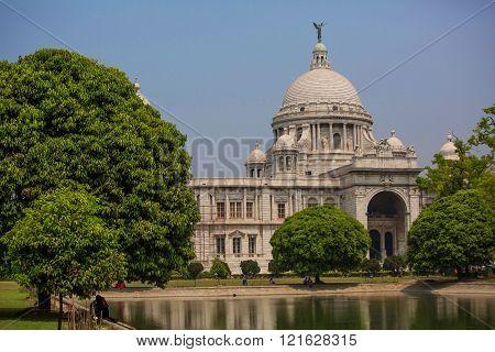 Landmark building Victoria Memorial in Kolkata or Calcutta India