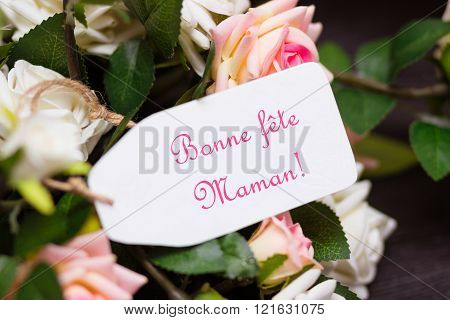 Mothers day french congratulation card with rustic roses