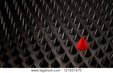 Abstract background, black metallic spiky with outstanding unique red one, 3d rendered