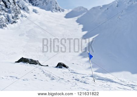 Blue Flag On A Mountain In Winter