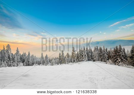 Beautiful winter sunrise photo taken in mountains
