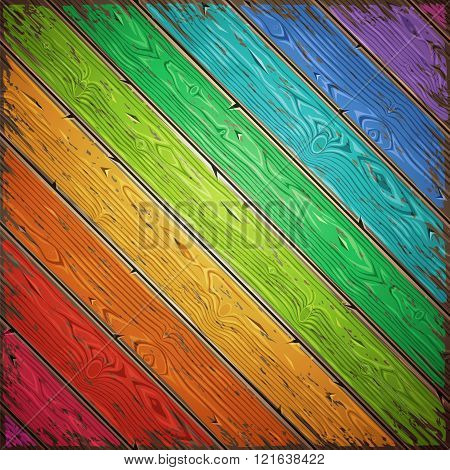 Rainbow old wooden painted vector wall diagonal. Vintage retro backround. Editable pattern in swatches.