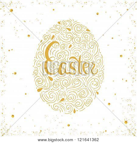 Happy Easter card. Easter background. Easter sunday. Easter golden egg. Easter hand lettering. Easter Holiday. Easter Vector. Easter greeting card.