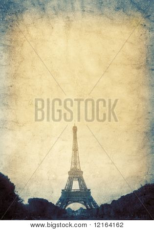 Vintage view of Eiffel Tower poster