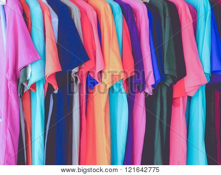 colorful of T-shirt cotton textile
