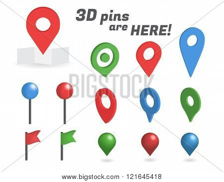 Navigation pins 3d isometric collection
