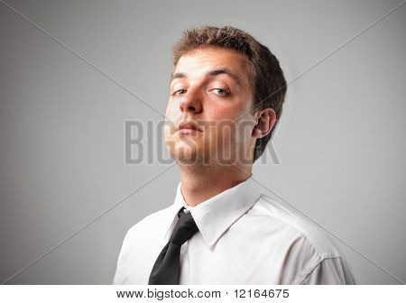 Businessman with perplexed expression