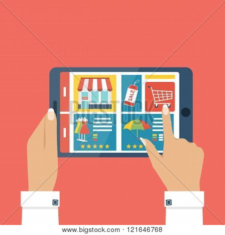 Shopping Online. Tablet In Hands Woman.
