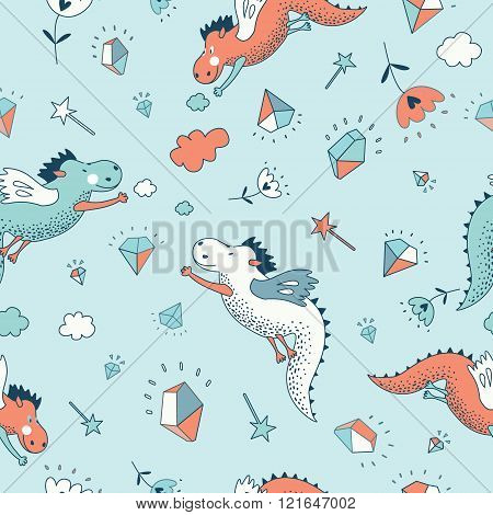 Cute  Funny  Fantasy  Vector  Seamless  Dragon Pattern .