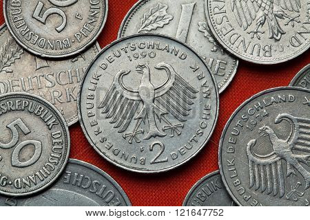 Coins of Germany. German eagle depicted in the German two Deutsche Mark coin.  poster
