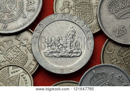 Coins of Spain. La Cibeles Fountain in Madrid, Spain depicted in the Spanish 200 peseta coin (1990).
