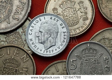 Coins of Spain. King Juan Carlos I of Spain depicted in the Spanish one peseta coin (1989).