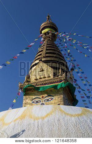 Kathmandu, Nepal - October 20, 2014: Photograph of the stupa at the buddhist temple Swayambunath.