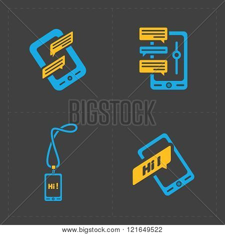 Modern colorful flat social icons set on Dark Background