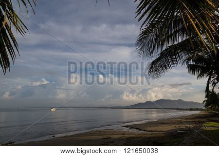 Palm Trees On The Ocean Beach. Fiji.