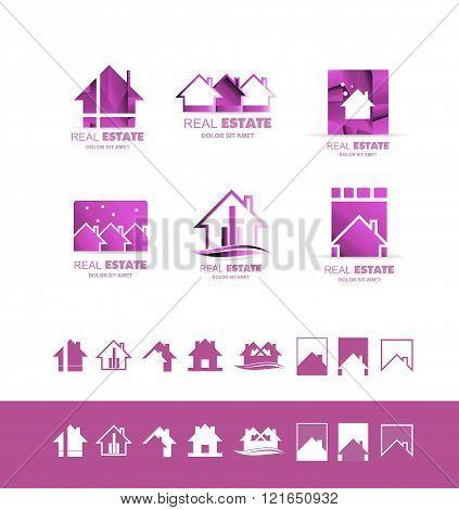 Real Estate Pink Set Logo Icon Purple