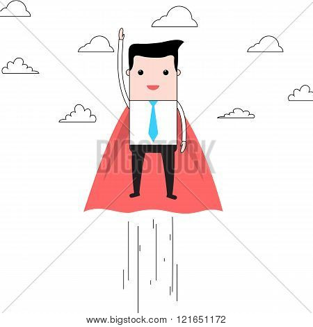 Cartoon super businessman flying in clouds