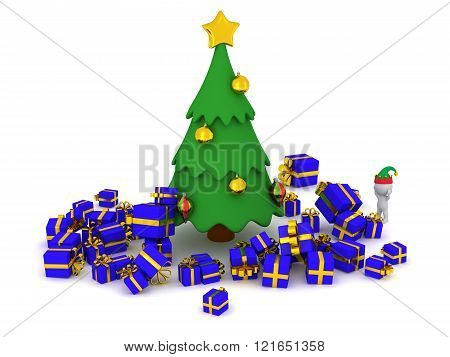 3D Character and too many gifts around the Christmas Tree