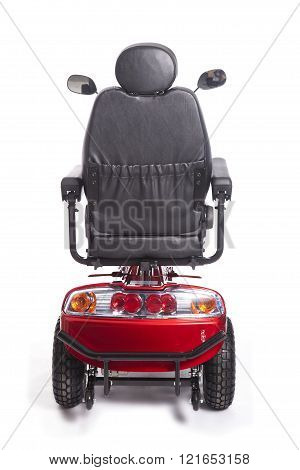 Generic Mobility Scooter For Disabled Or Elderly People Against White Background