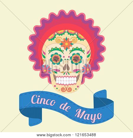 Cinco De Mayo, Painted Skull In National Traditions Of Mexico