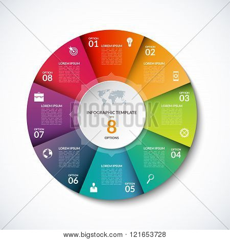 Vector infographic circle template with 8 steps, parts, options