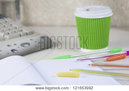 Squared Notebook With Color Pens And Cofee
