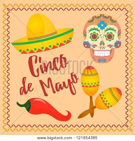 Cinco De Mayo Mexican Festival Sombrero Hat Maracas And Chili Pepper