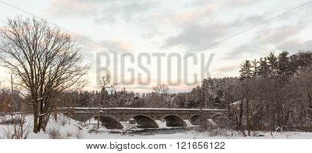 A wintery, snowy landscape with snow