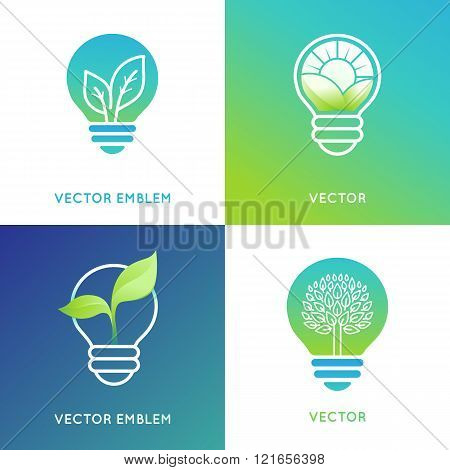 Eco Energy Concept - Light Bulb Icons With Green Leaves