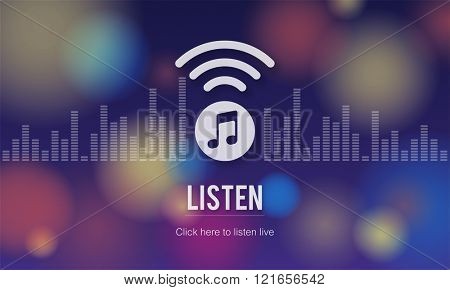 Live Music Listen Entertainment Online Concept poster