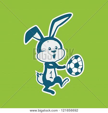 Easter Rabbit Icon Egg Design Flat